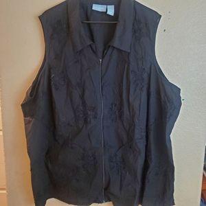 Liz&Me Floral Embroidered Sleeveless Zip Vest